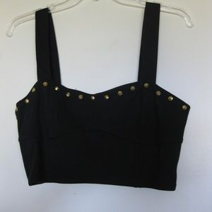 Forever 21 Crop Top Black Gold Night Out